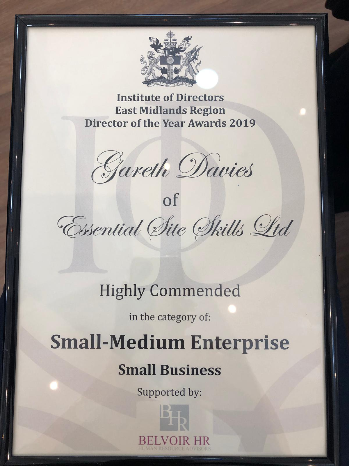 Award Certificate for the IOD Director of the Year Awards 2019