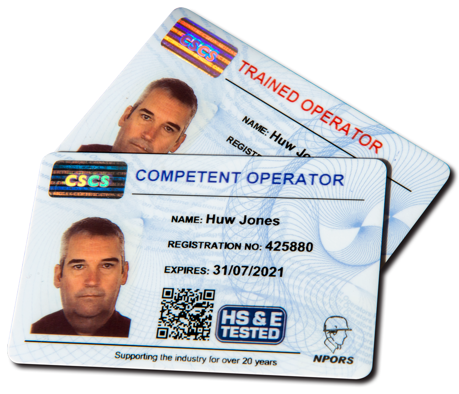 Image shows Trained Operator and Competent Operator cards.