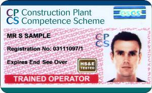 Image shows CPCS Red Trained Operator card.