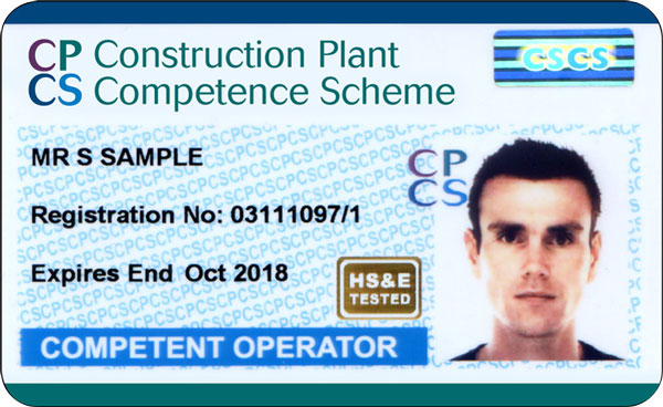 Picture of a blue CPCS Competent Operator Card