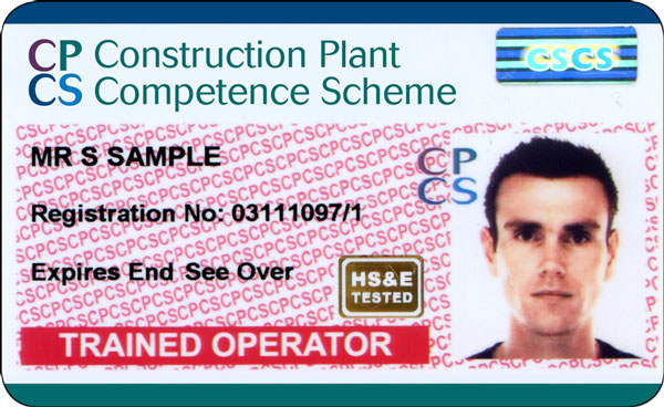 Picture of a red CPCS Trained Operator Card
