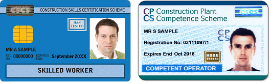 Blue CSCS and blue CPCS cards next to eachother