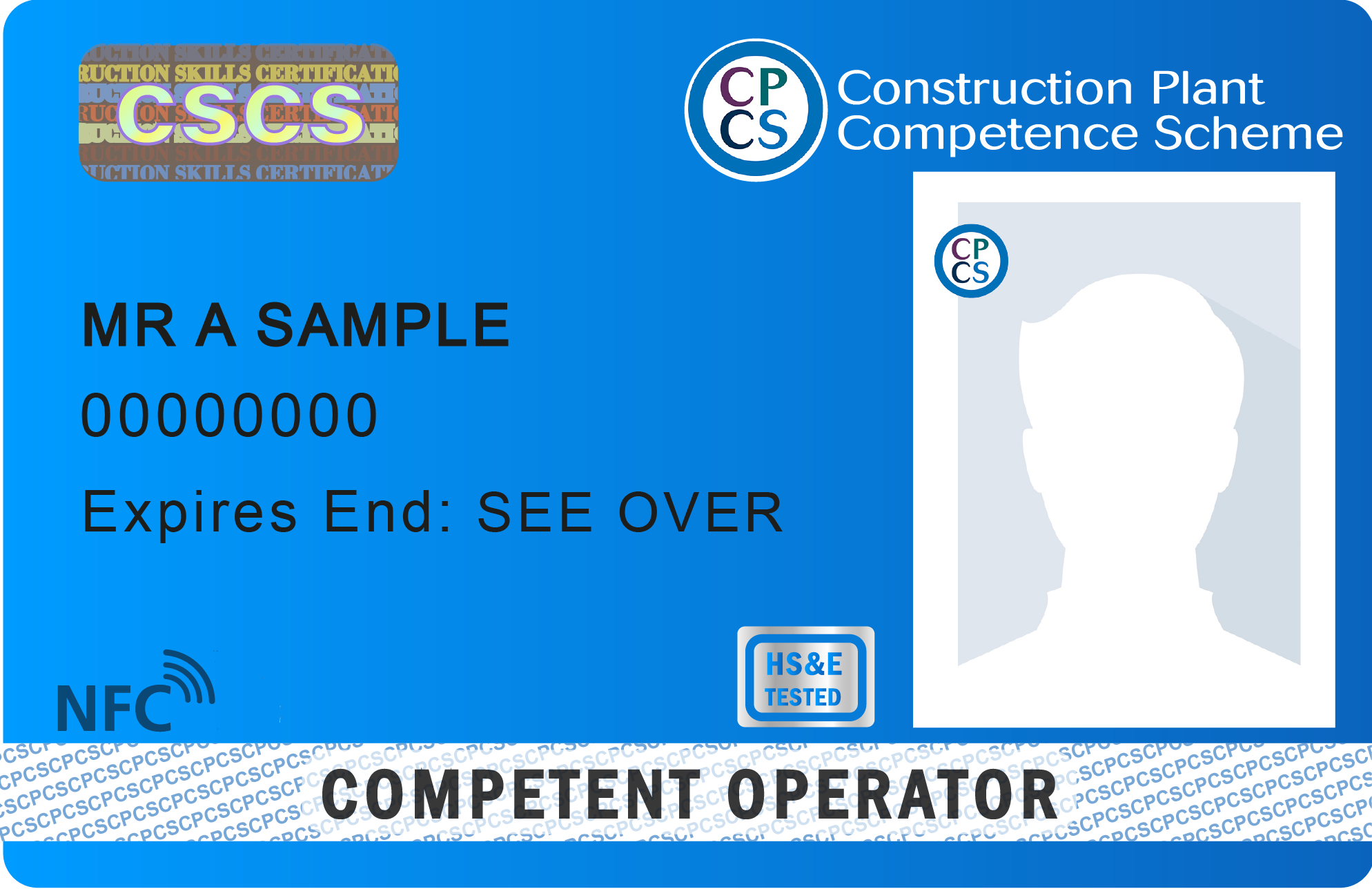 Image shows CPCS Blue Competent Operator card