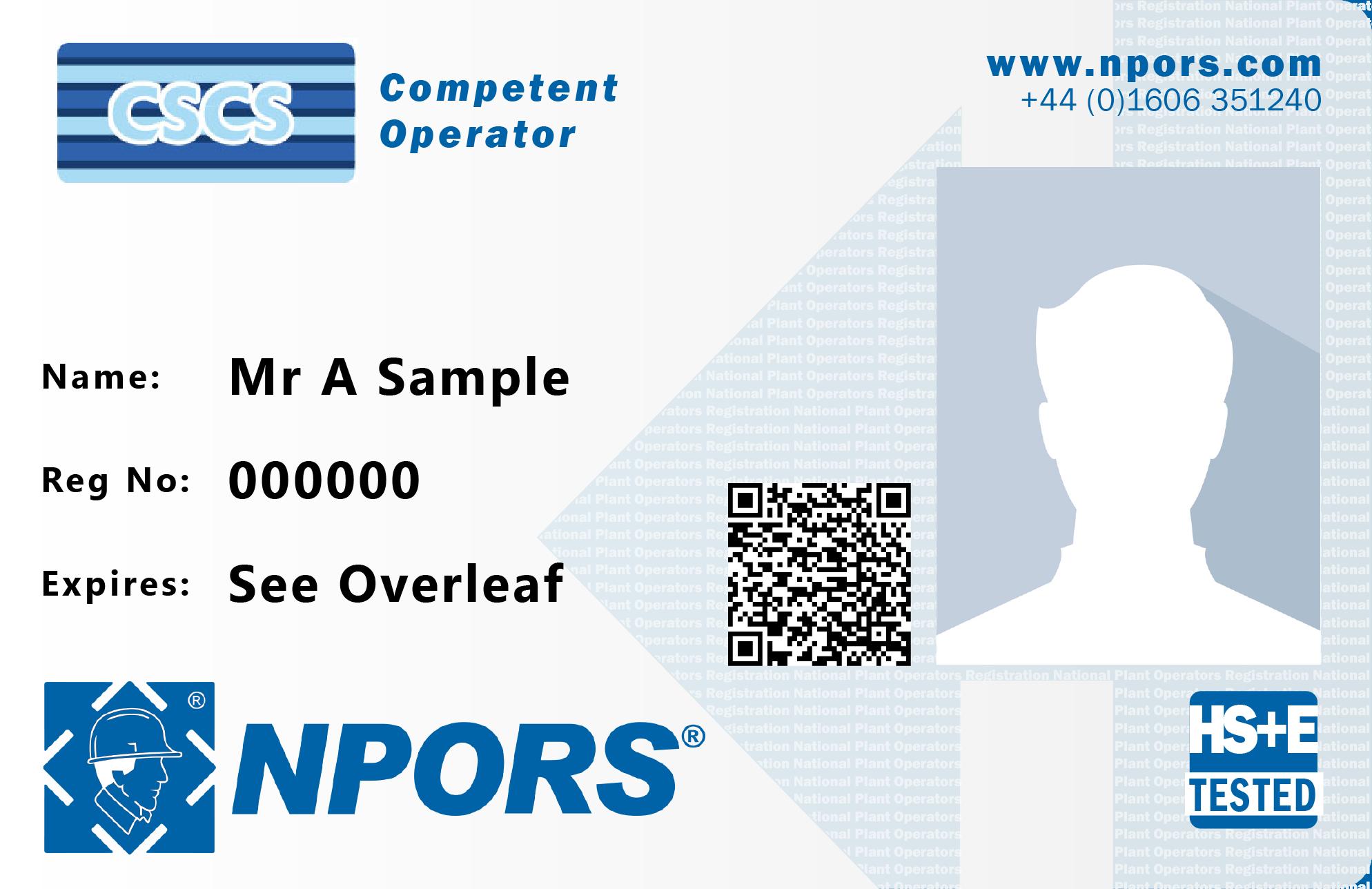 NPORS Competent operator