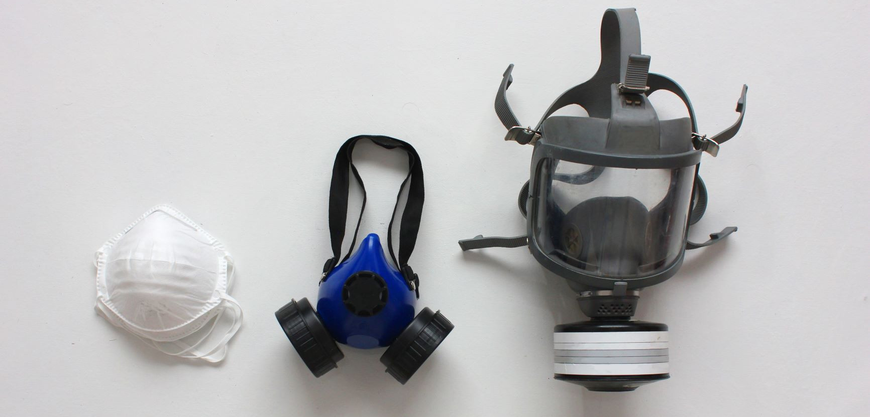 image shows disposable mask, half face mask, and full face mask