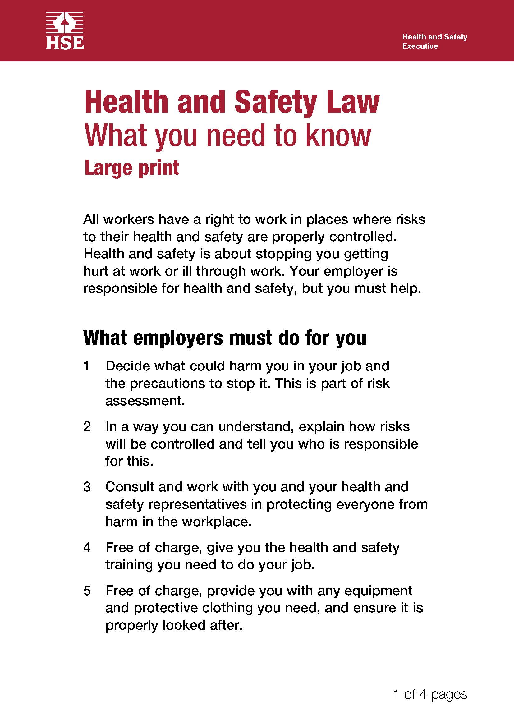 image shows Health and Safety legislation poster