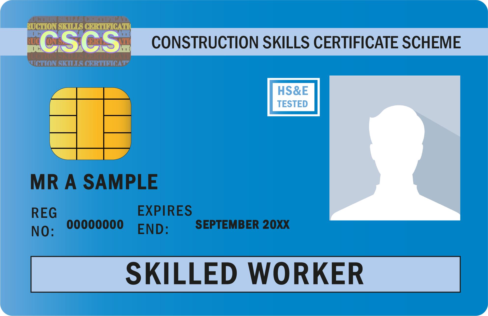 image shows CSCS Blue Card