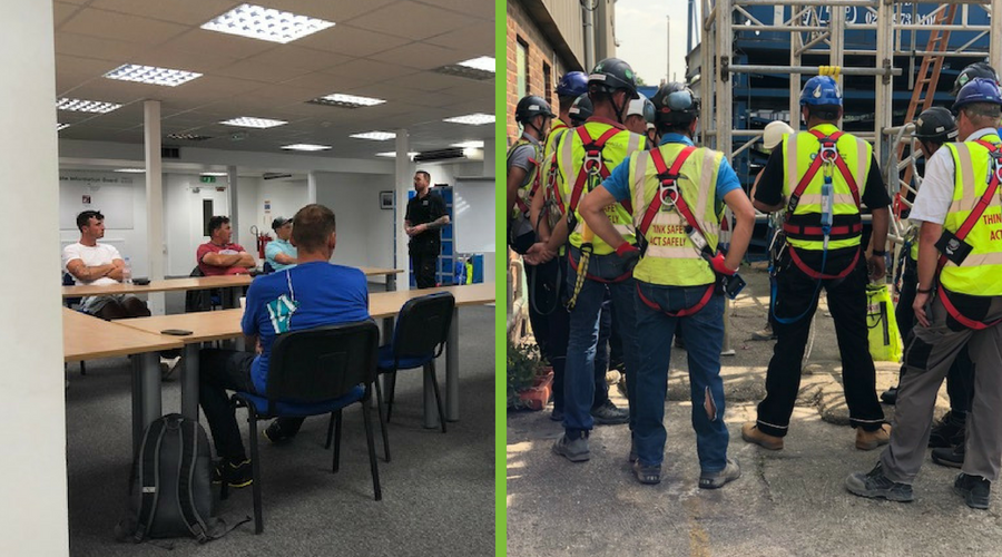 Images illustrate a blog post about health and safety in the construction industry and show Essential Site Skills delivering working at height training for workers on Aykon London One