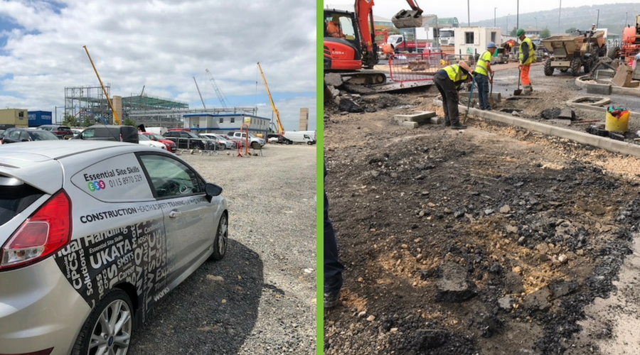 picture showing health and safety consultancy provider Essential Site Skills visiting a site and a picture of a construction site