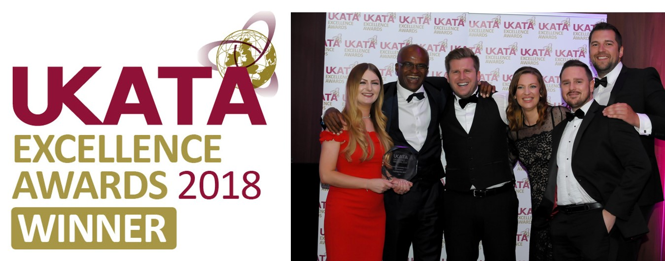 Essential Site Skills team at the UKATA awards ceremony and the winner's logo